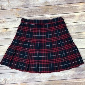 American Apparel Plaid Pleated School Mini Skirt